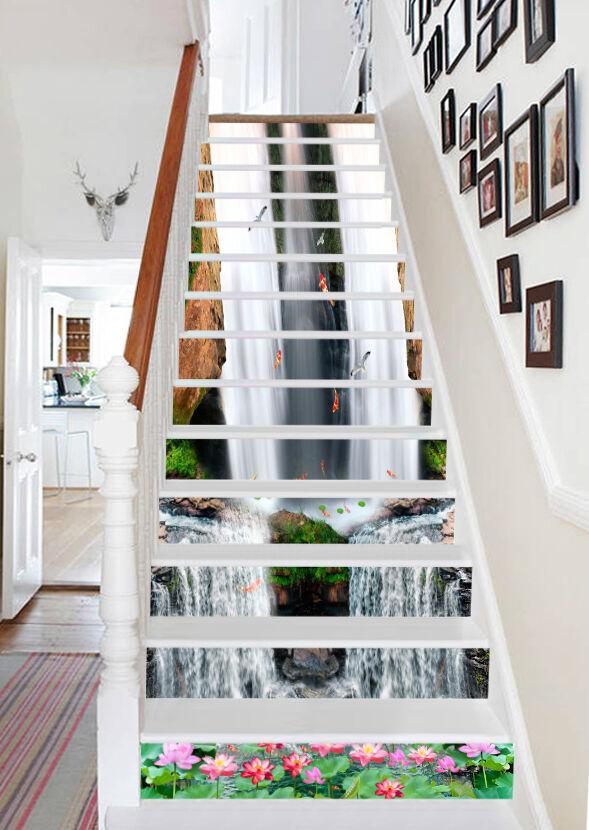 3D fFaibleer eaufall fish Risers Decoration Photo Mural Vinyl Decal Wallpaper CA