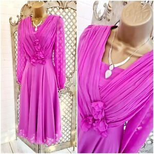 Michaela Louisa 💋 Pink Chiffon Flower Floaty Fit & Flare Dress UK 10 70's Style