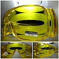 Wrap Around Driving Safety Night Sun Glasses Over Rx Glass Fit Yellow Frame Lens