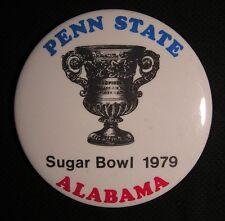 """VINTAGE 1979 PENN STATE - ALABAMA SUGAR BOWL PIN - NCAA Football - LARGE 3 1/2"""""""