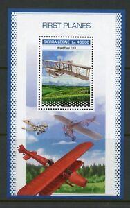 Sierra-Leone-2018-Premiers-avions-SOUVENIR-SHEET-Comme-neuf-jamais-a-charniere