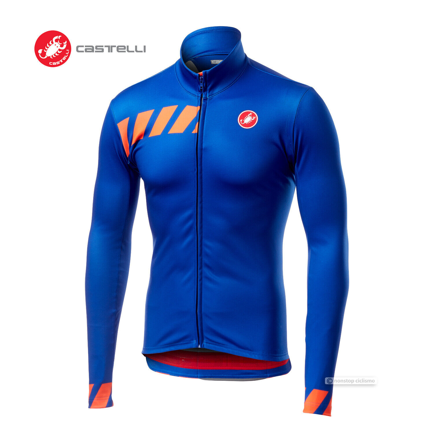 NEW Castelli PISA Thermal Long Sleeve Full Zip Cycling Jersey   SURF Blau