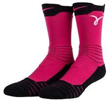 Nike Elite Versatility Basketball Crew Socks 8-12 SX5373-616 Pink Black Kay Yow