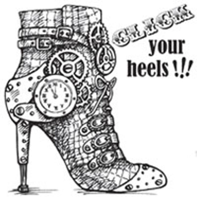 Click Heels Steampunk Shoe Cling Rubber Stamp