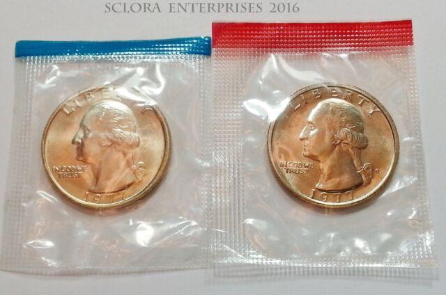 1977 P & D Washington Quarter Coin Set (2 Coins) *MINT CELLO*  **FREE SHIPPING**