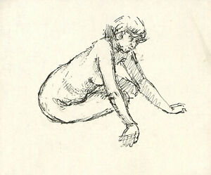 Peter Collins ARCA - c.1970s Pen and Ink Drawing, Female Nude Study