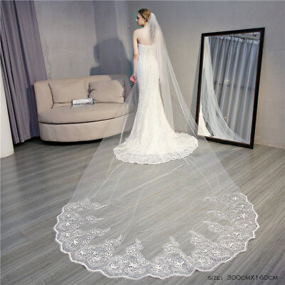 Cathedral Length Wedding Veils 1T Comb Bridal Veil Accessories Vintage Flowers