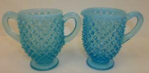 Vintage-Fenton-Blue-Opalescent-Hobnail-Glass-3-1-4-034-Creamer-amp-Sugar-Set