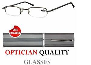 2-50-2-5-SLIM-POCKET-RIMLESS-Reading-Glasses-mens-ladies-tube-case-new-UK