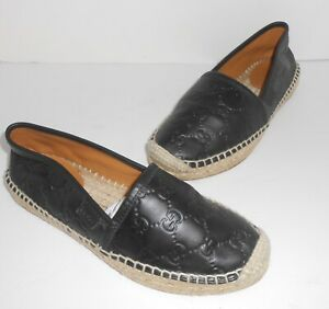GG Pilar Leather Espadrilles Black