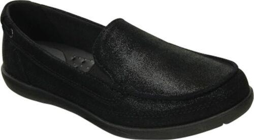 Crocs Women Walu Leather Shimmer Loafer Black 6 7  NWT