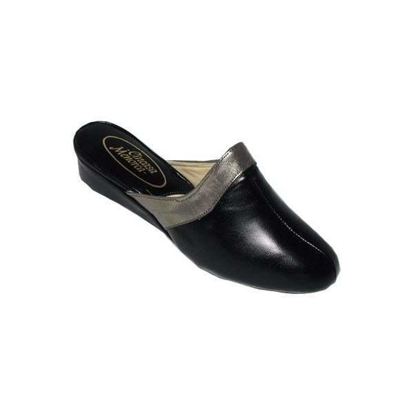 Cincasa menorca signature femme de luxe à talon en cuir pantoufles noir étain