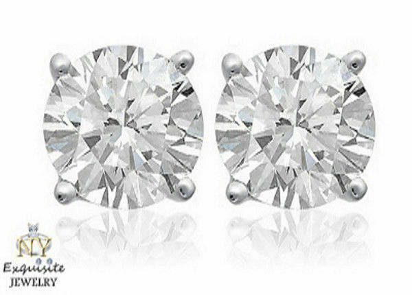 CERTIFIED 1.75ct  ROUND-CUT F SI1 GENUINE DIAMONDS IN 14K gold STUDS EARRINGS
