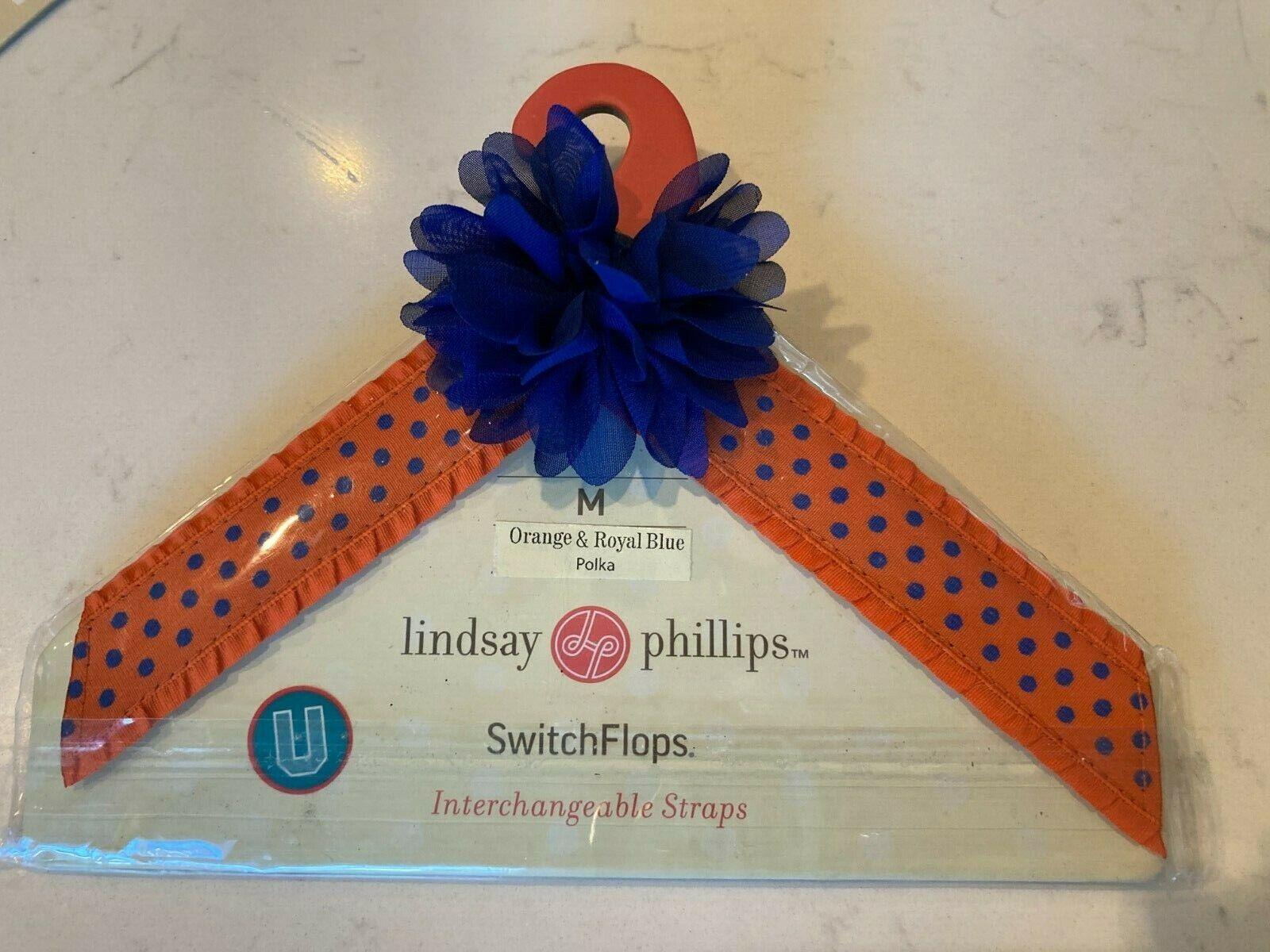 Lindsay Phillips SwitchFlops Strap Orange Royal Blue Flip Flop Shoe NEW Medium