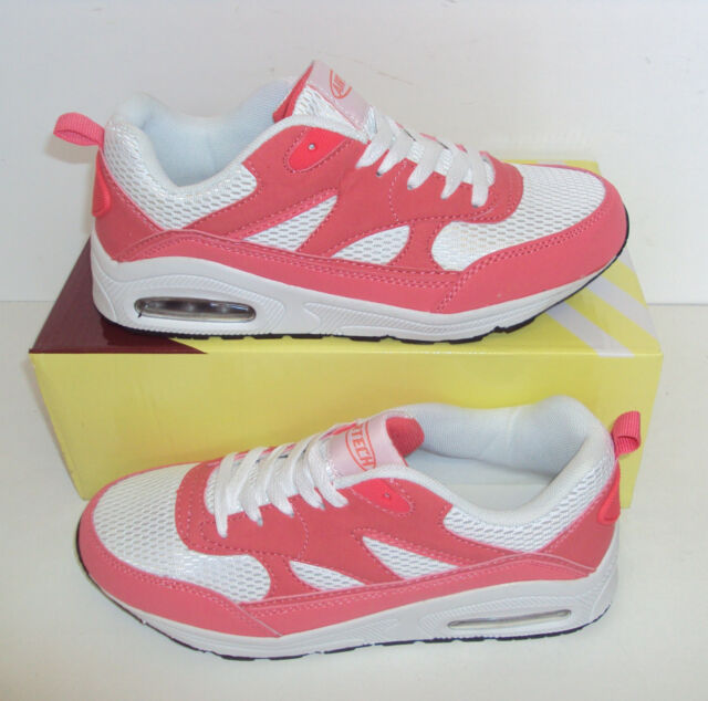 Ladies Running Trainers New White Coral Shock Absorbing Sports Shoes Sizes 3-8