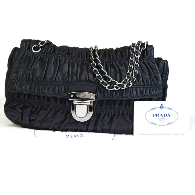 Authentic PRADA MILANO Chain Shoulder Bag Leather Black Made In Italy  73EM325 41d13e018c901