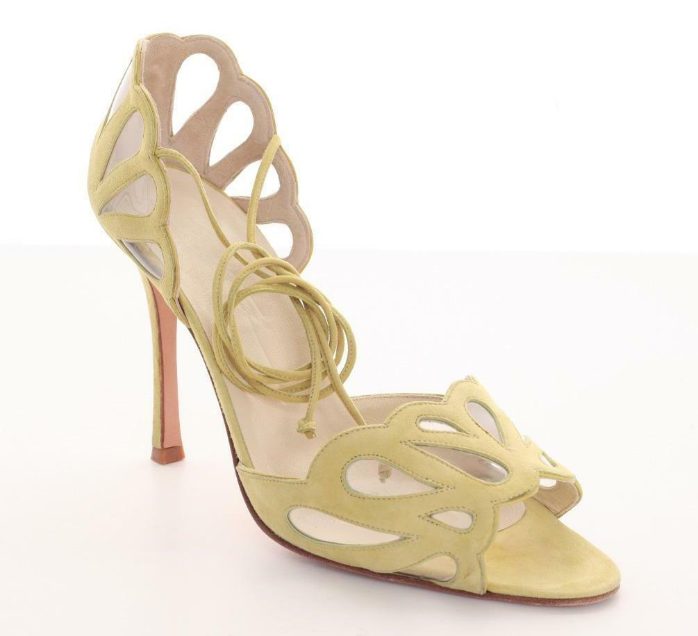 MANOLO BLAHNIK Gelb Suede High Heel Strappy Scalloped Sandal Pump schuhe 10-40