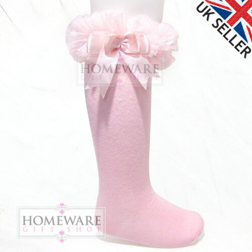 GIRLS BABY TUTU SOCKS SPANISH KNEE HIGH SATIN BOW SOCKS TULLE FRILLY KIDS 0-6 Y