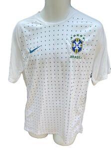 New Vintage NIKE BRAZIL BRASIL FOOTBALL Training Pre Match Shirt White M