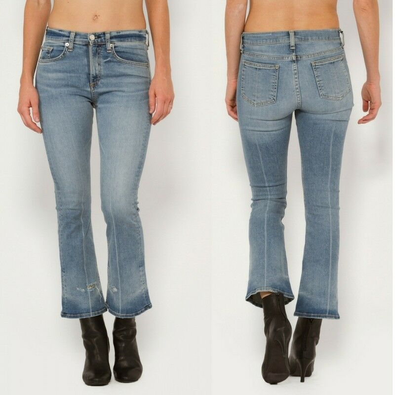 NWT Rag & Bone Jean Cropped Destroyed Flared Faded bluee High Rise Jeans Vale