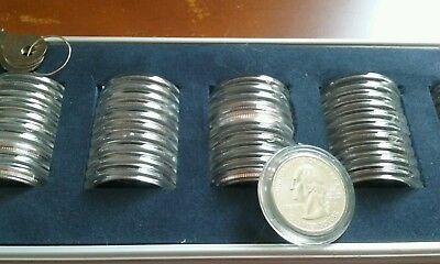 FULL SET 1999-2008 U.S. STATE Quarters  MS+ /W Lock box  .999 commemorative (D)