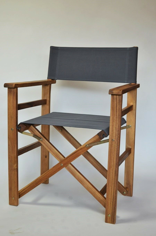 Outdoor Regiestuhl Grau, wetterfester Bezug aus TEXSILK, Stuhl, klappbar,leicht