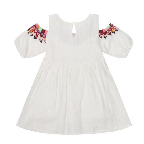 Casual Sundress Kids Girl Dress Floral Lining Print Open Shoulder Summer Dresses
