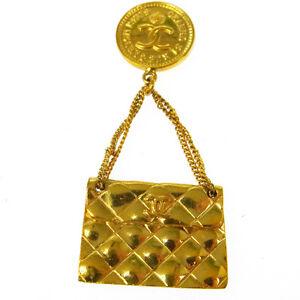 Authentic-CHANEL-Vintage-CC-Logos-Bag-Motif-Brooch-Pin-Corsage-Gold-V03059