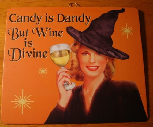 Vintage Retro Style Halloween Decor Sign Pin Up Girl Witch Party WINE IS DIVINE