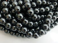 """1 x 16"""" Strand of 6mm Non-Magnetic Black Hematite Round Beads (Approx.72 Beads)"""