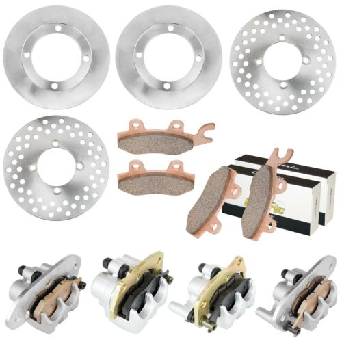 FRONT REAR BRAKE CALIPER DISC ROTOR w//PAD FOR Yamaha RHINO 700 YXR700 4X4 08-13