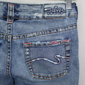 Silver-Jeans-Womens-Denim-Jeans-Size-25-Aiko-Distressed