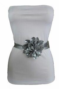 Damen Hochzeit Umwickeln Silber Stoff Groß Blume Charm Schnalle Krawatte Gürtel Damen-accessoires Kleidung & Accessoires