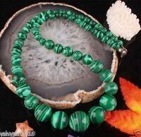 "6-14MM Green Malachite Gemstone Round Beads necklace 18"""