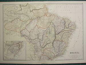 1882 Gross Antik Landkarte Brazil Grosso Sao Paulo Bahia Para