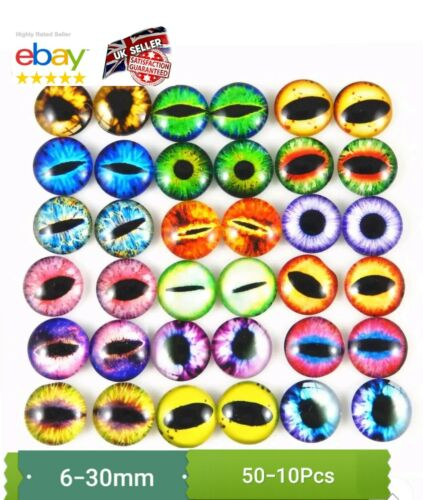 50PcS ANIMAL EYES GLASS CABOCHON 6-30MM CAT// ANIMALS EYES CABOCHON// GOOGLY EYES