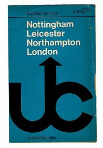 Express Service Timetable  United Counties Nottingham Leicester London   1971 - <span itemprop='availableAtOrFrom'>Birmingham, United Kingdom</span> - Express Service Timetable  United Counties Nottingham Leicester London   1971 - Birmingham, United Kingdom