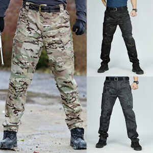 Mens Trousers Camouflage Casual Pants Military Work Cargo Camo Combat Pants  Hs
