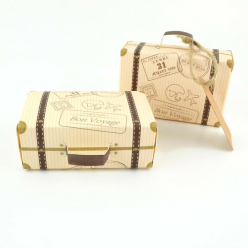 50PCS Wedding Favor Mini Suitcase Gift Box Kraft Paper Candy Box Party Supply US