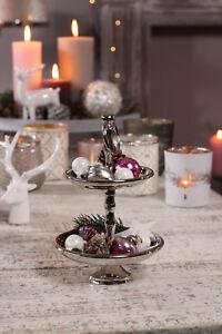 Mini Etagere 23cm Silber Alu Deko Hochzeit Servierplatte Pralinen