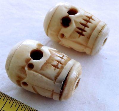2 Large Carved Bone Skull Beads Bone Beads Vintage Skull Beads Ebay