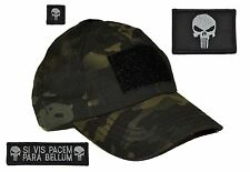 USA MADE! Multicam BLACK Tactical Operator Hat w/ Punisher Skull 3 pc Patch Set