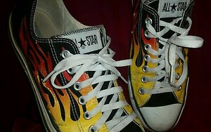 USED CONVERSE ALL STAR SIZE 11 MEN 13 WOMEN BLACK WITH FLAMES ... ee7ebe8011