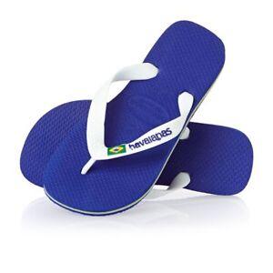 0ad3951949363d Image is loading Havaianas-Brasil-Logo-Unisex-Flip-Flops-Marine-Blue-