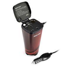 BESTEK 200W Portable Power Inverter 12V DC to 230V AC Cup Holder Power Adapte...