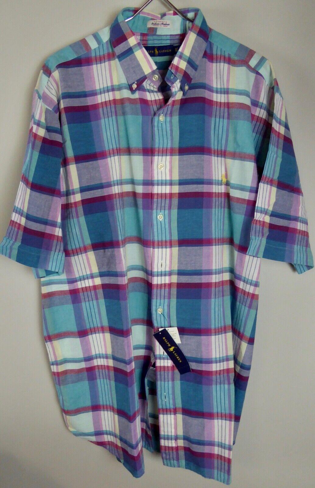 Polo Ralph Lauren SS Woven Indian Madras 100% Cotton Plaid Shirt NWT  -