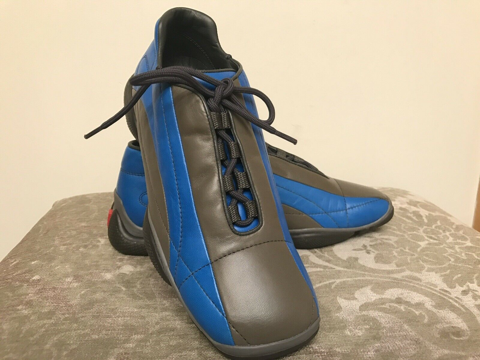 Prada Sport Bicolor Grey    Cobalt color Womens Leather shoes Size 8 US New  5d28f5