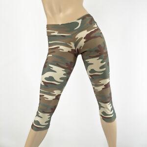 91a72e3961c8e8 Army Camo Yoga Pants Low Rise Camouflage Capri Printed Leggings ...