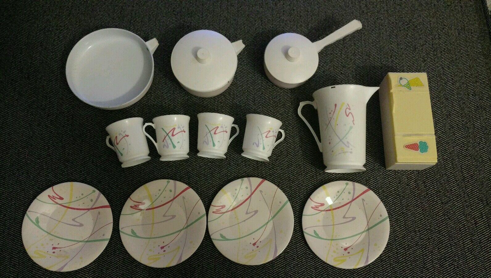 Metal Vintage Muñeca Muebles 90s 80s blancoo Taza de placa de cocina Olla Lote Tea Party