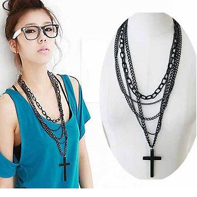 Retro Fashion Women Vintage Cross Pendant Long Chain Charm Necklace Girls Gift